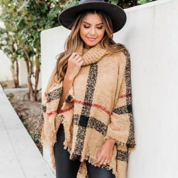 🆕️ Poncho Turtleneck Sweater Shawl Tan Black